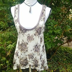 Painted Thread white and purple floral lace top
